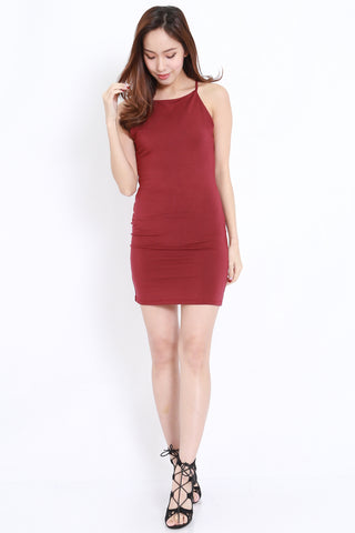 Web Back Dress (Maroon)