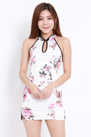 White Floral Cross Back Cheongsam Dress