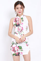 White Floral Side Slit Cheongsam Dress