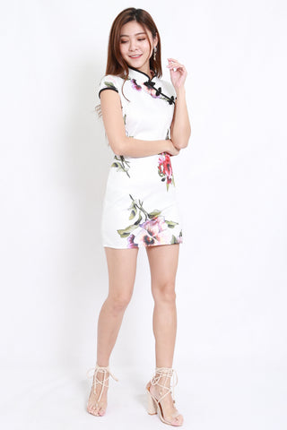 White Floral Sleeved Cheongsam Dress