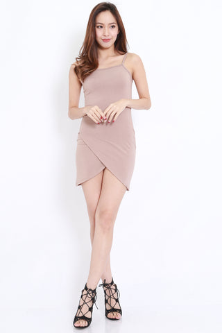 Wrap Hem Spag Dress (Taupe)