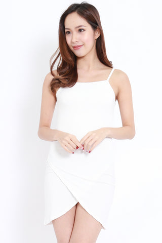 Wrap Hem Spag Dress (White)