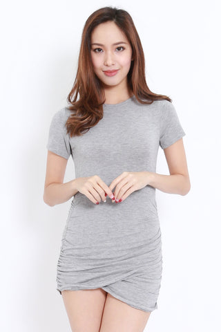 Wrap Hem Tee Dress (Light Grey)