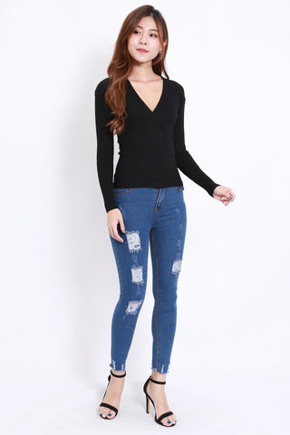 Wrap Knit Top L/S (Black)
