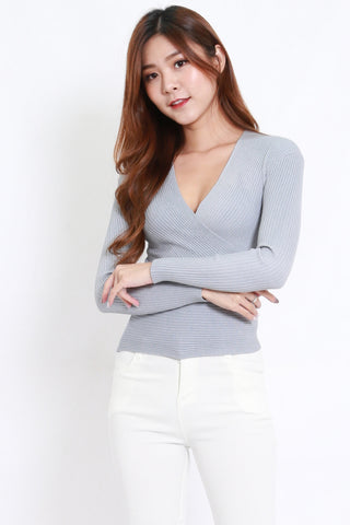 Wrap Knit Top L/S (Grey)