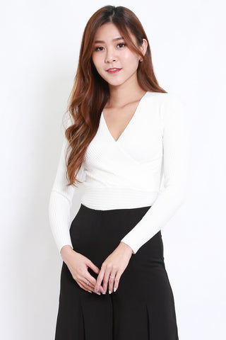 Wrap Knit Top L/S (White)