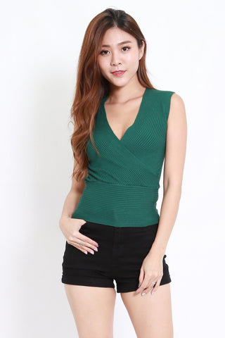 Wrap Knit Top S/L (Forest)