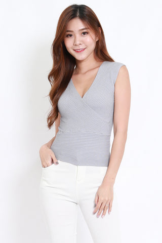 Wrap Knit Top S/L (Grey)