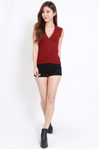 Wrap Knit Top S/L (Maroon)