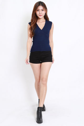 Wrap Knit Top S/L (Navy)