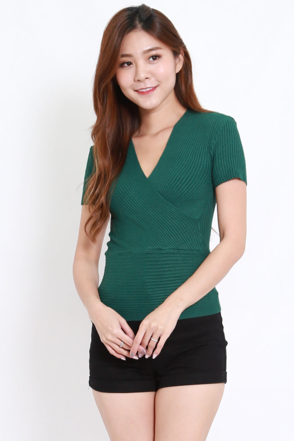 Wrap Knit Top S/S (Forest)