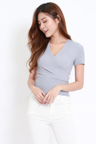 Wrap Knit Top S/S (Grey)