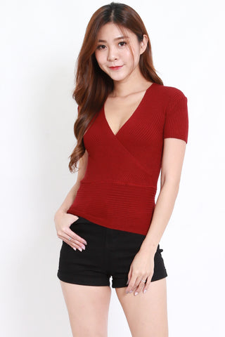 Wrap Knit Top S/S (Maroon)