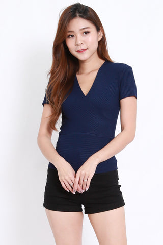 Wrap Knit Top S/S (Navy)