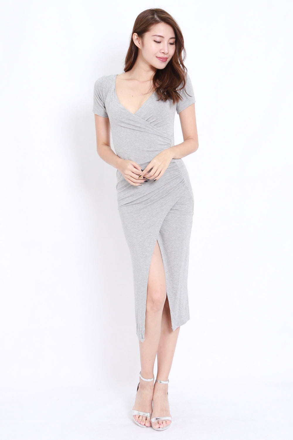 Wrap Slit Midi Dress (Grey)