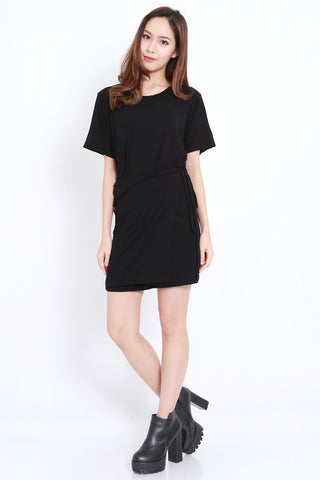 Wrap Tie Tee Dress (Black)