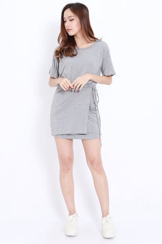 Wrap Tie Tee Dress (Grey)