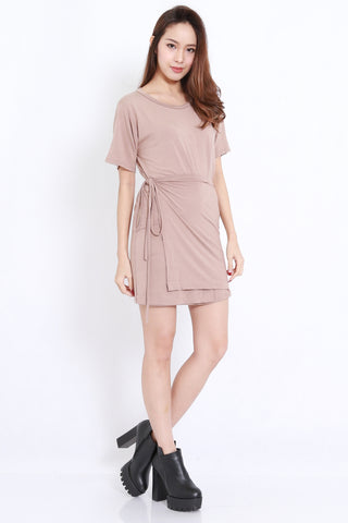 Wrap Tie Tee Dress (Taupe)