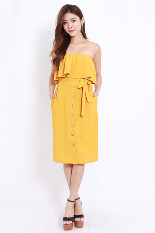 Yellow Buttons Midi Tube Dress