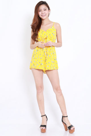 Yellow Floral Bow Front Romper