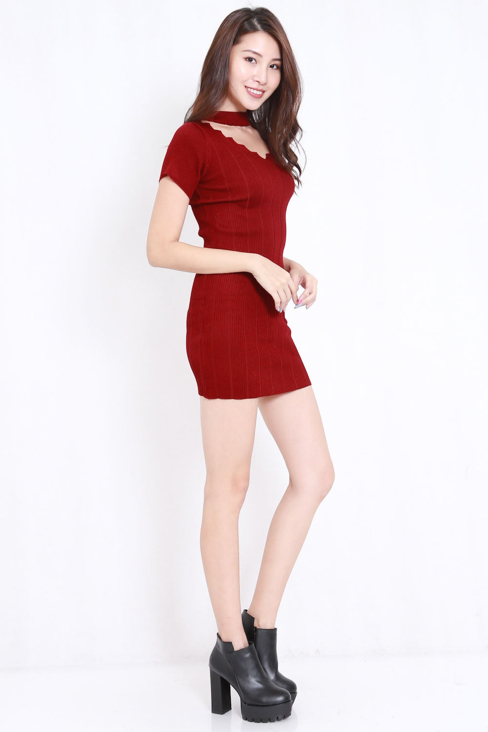 Zig Zag Choker Knit Dress (Maroon)