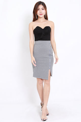 Zipper Slit Skirt (Grey)