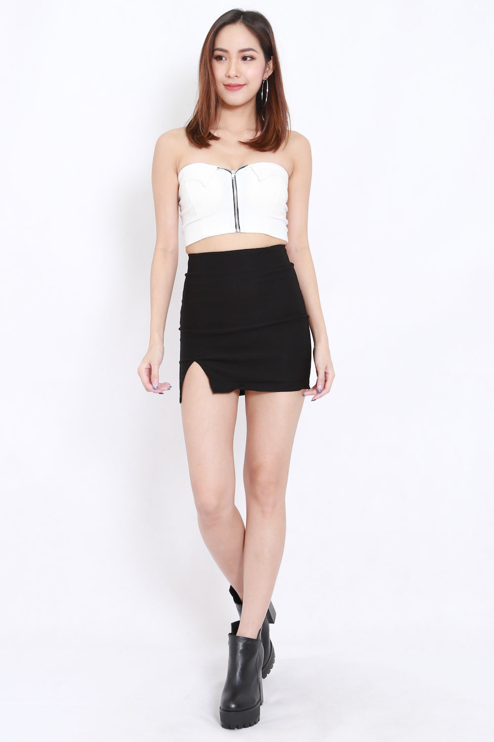 Zipper Tube Bralet (White)