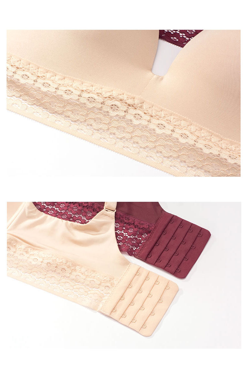 Lace Detail T-Shirt Bra (Wine Red)