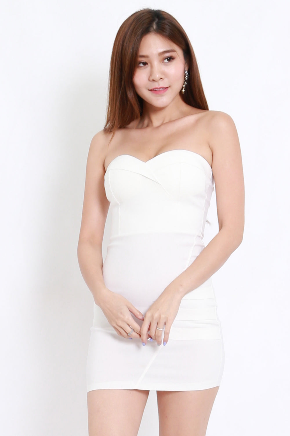 Sweetheart Bandage Dress (White)