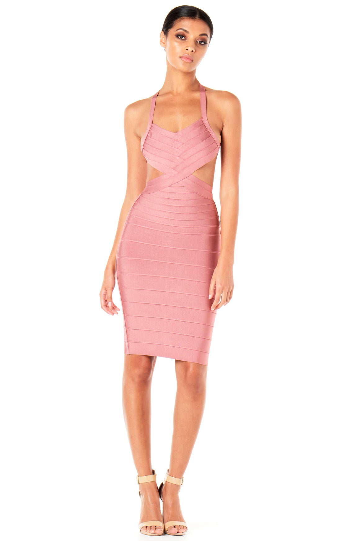 Mila Cutout Bandage Dress - Blush [SAMPLE SALE]