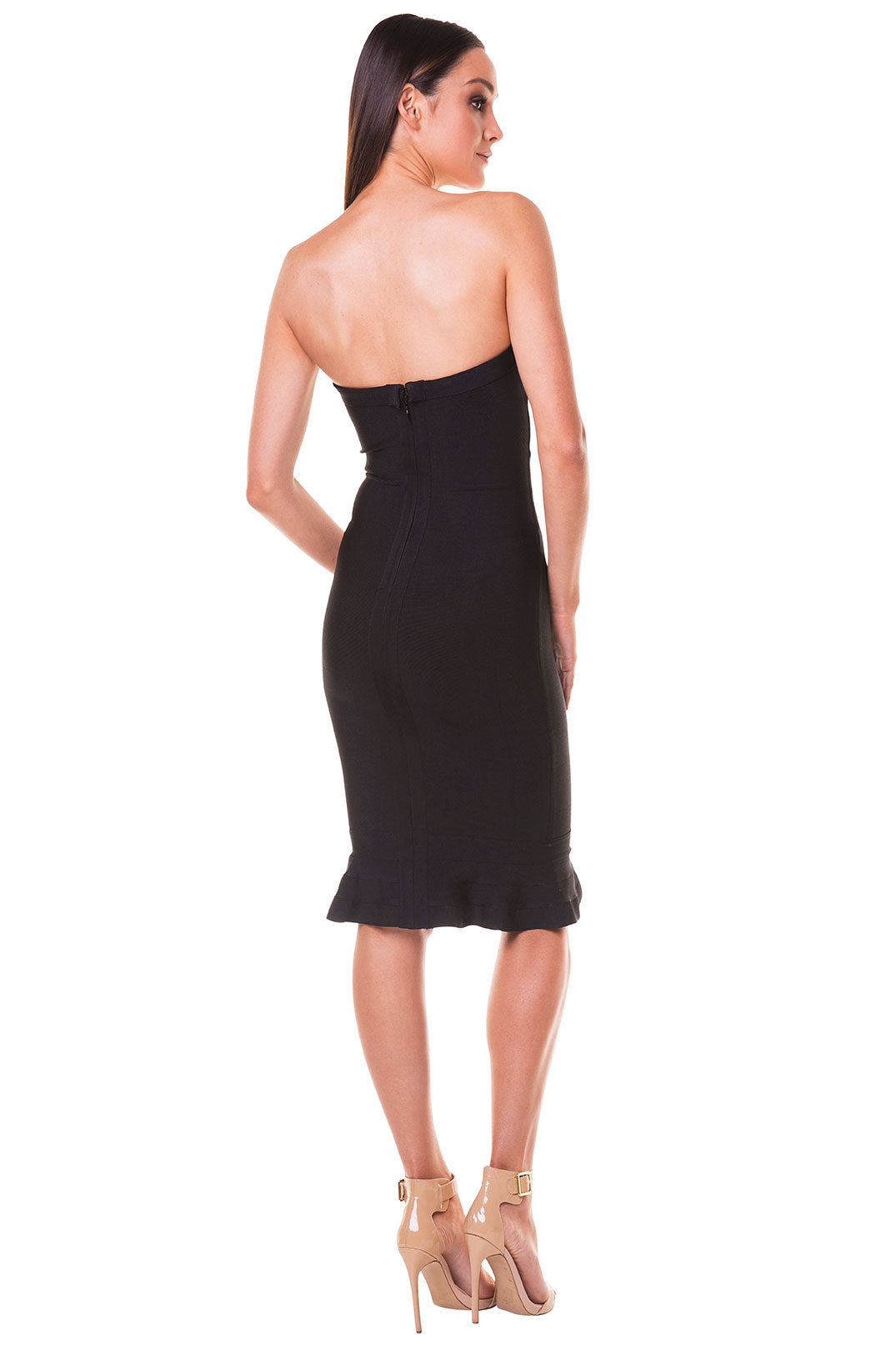Layla Strapless Fluted Hem Bandage Dress - Black