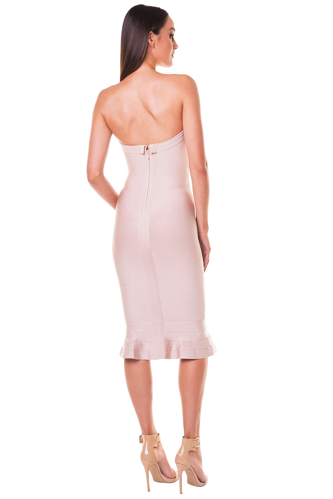 Layla Strapless Fluted Hem Bandage Dress - Nude [SAMPLE SALE]