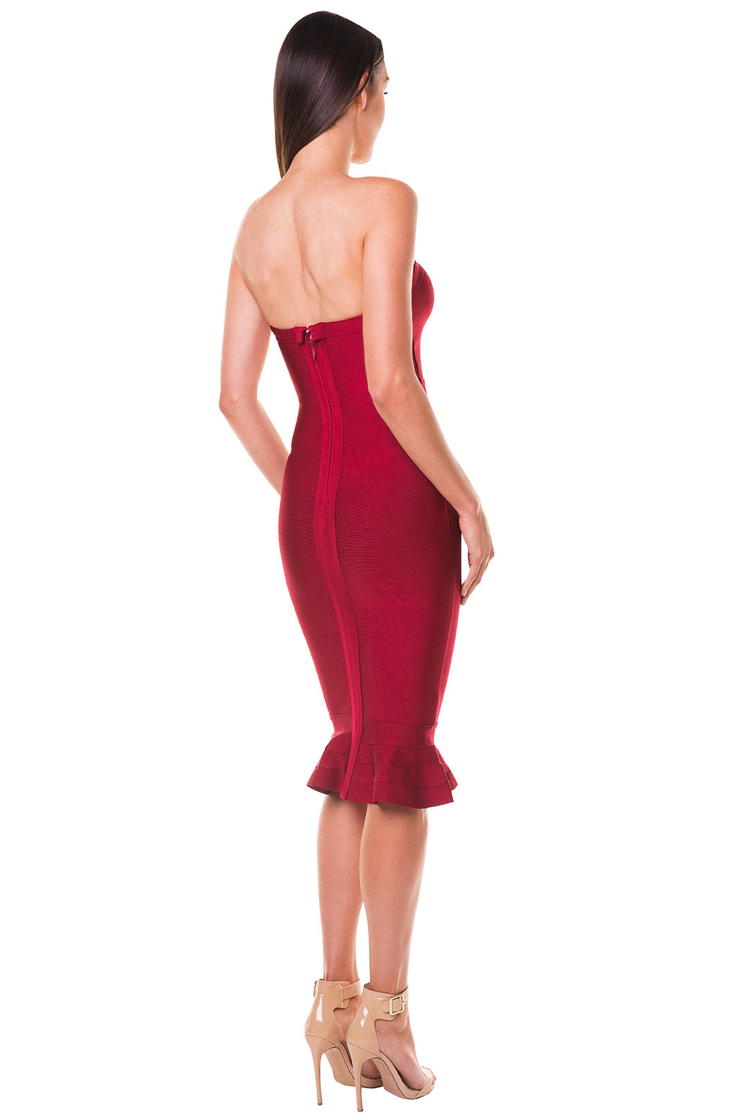 Layla Strapless Fluted Hem Bandage Dress - Wine