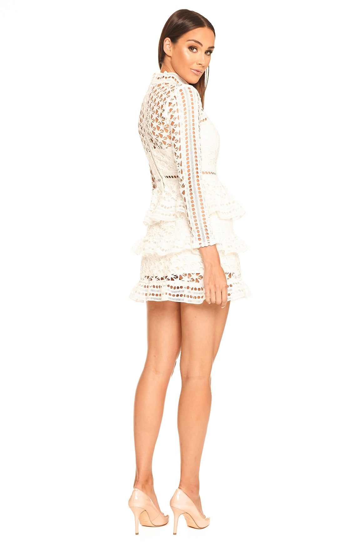 Chanelle Lace Peplum Dress - White