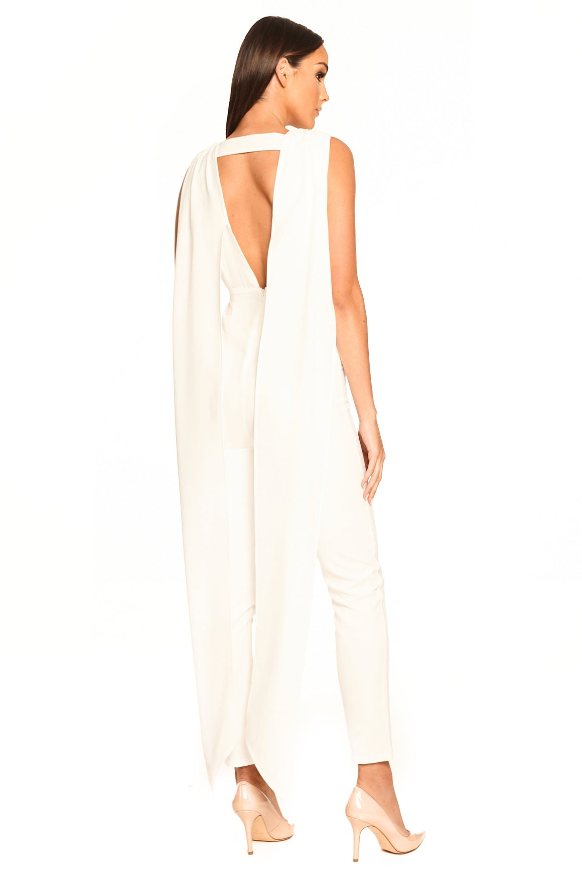 Olympia V-Neck Pantsuit - White [SAMPLE SALE]