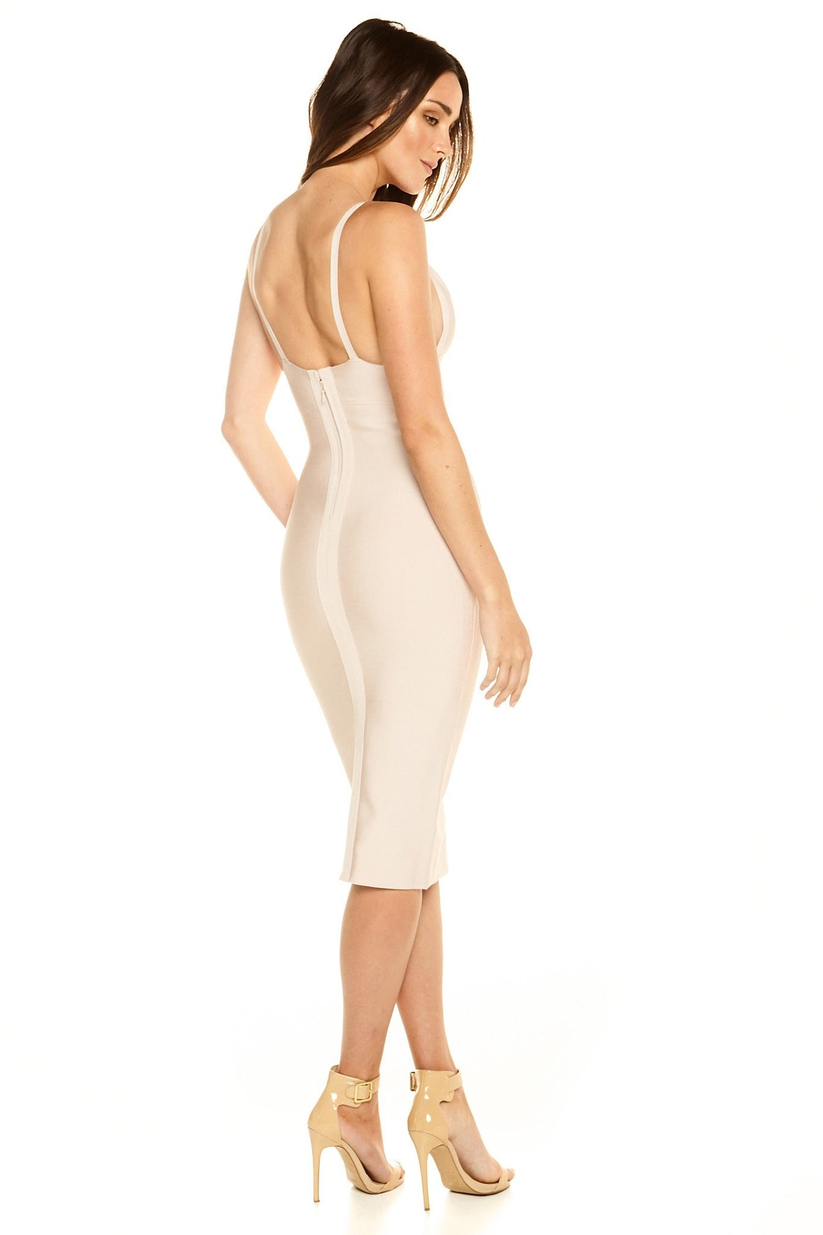 Portia V-Neck Midi Bandage Dress - Nude