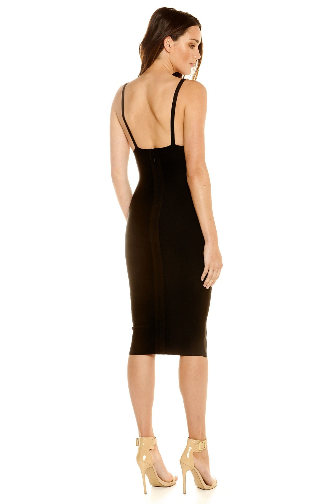 Portia V-Neck Midi Bandage Dress - Black