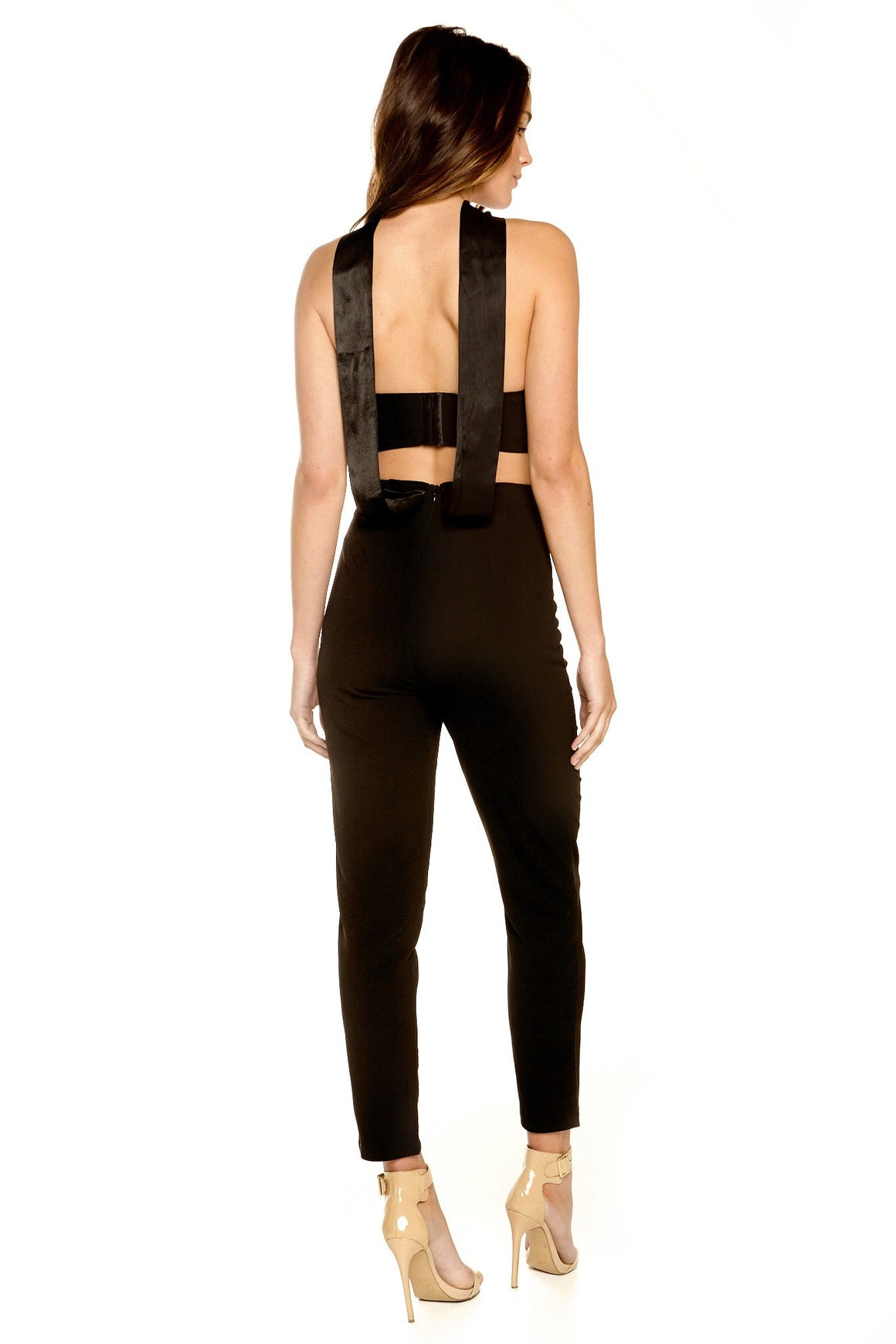 Perla Cutout Choker Jumpsuit - Black [SAMPLE SALE]