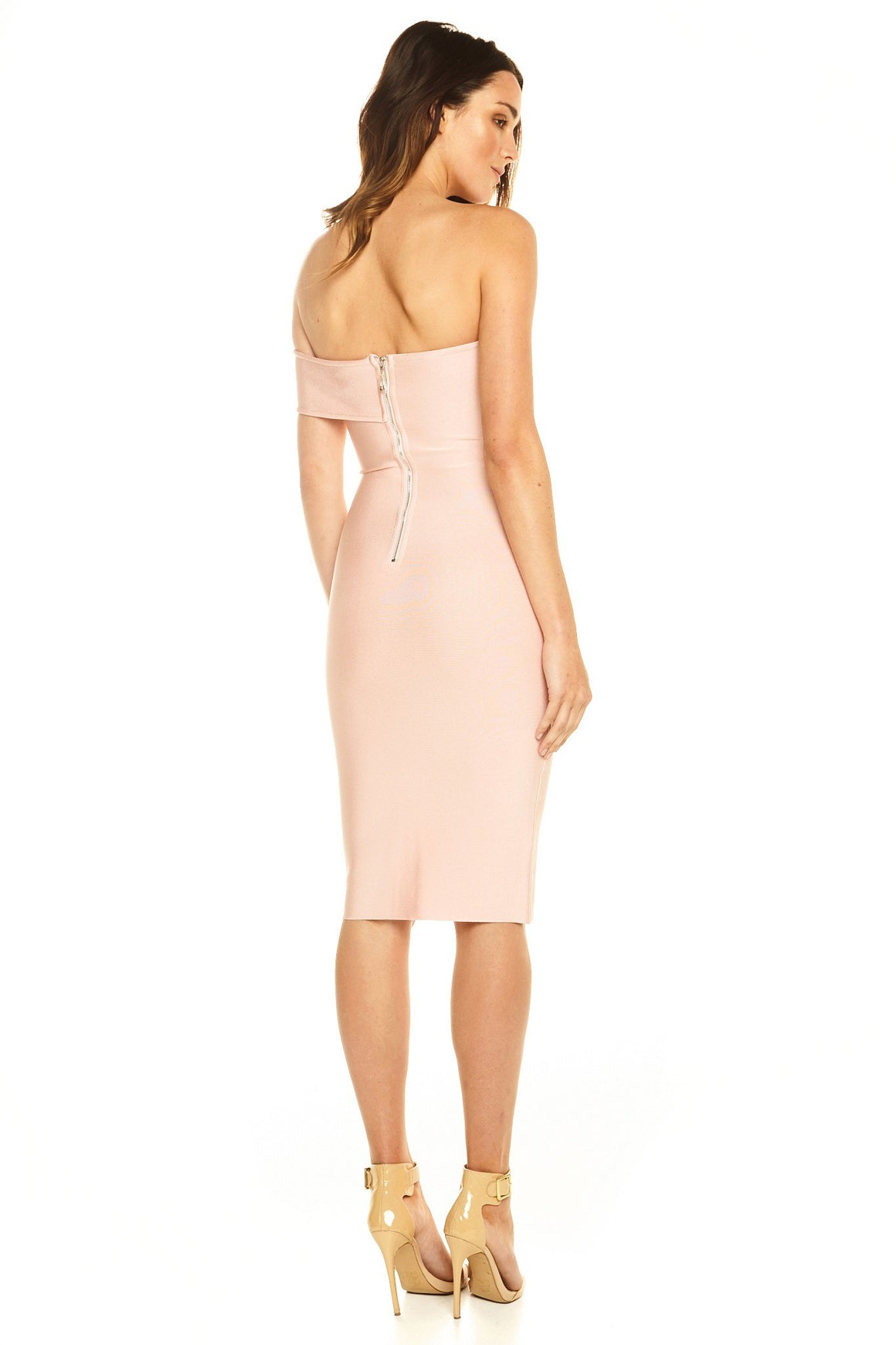 Tahne Off-Shoulder Bandage Dress - Blush