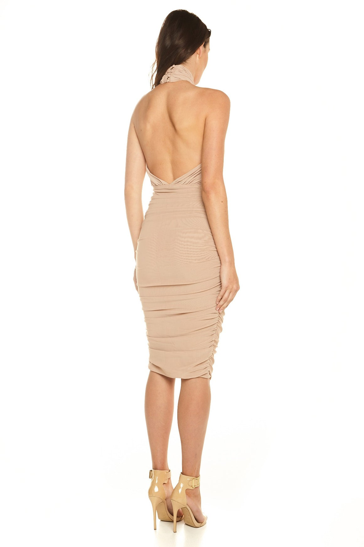 Micah Crossover Mesh Dress - Nude