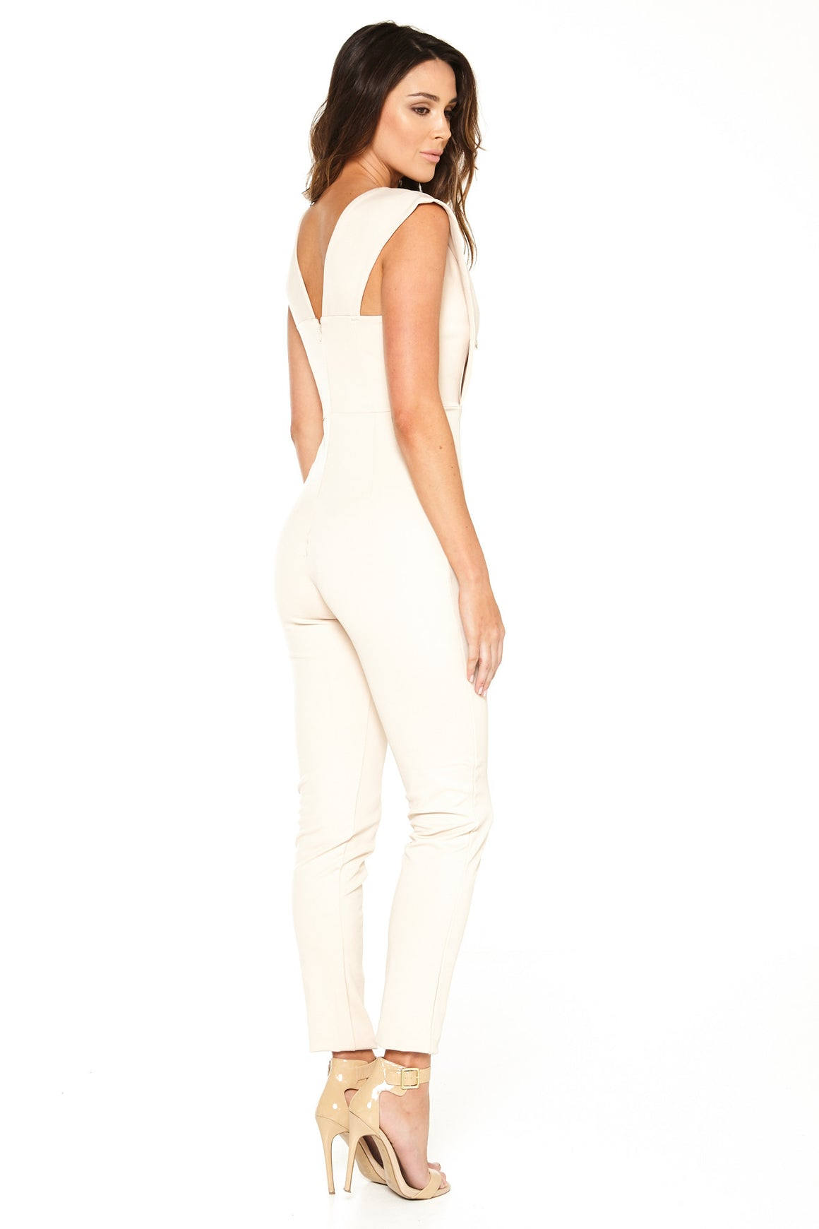 Peyton V-Neck Jumpsuit - Nude