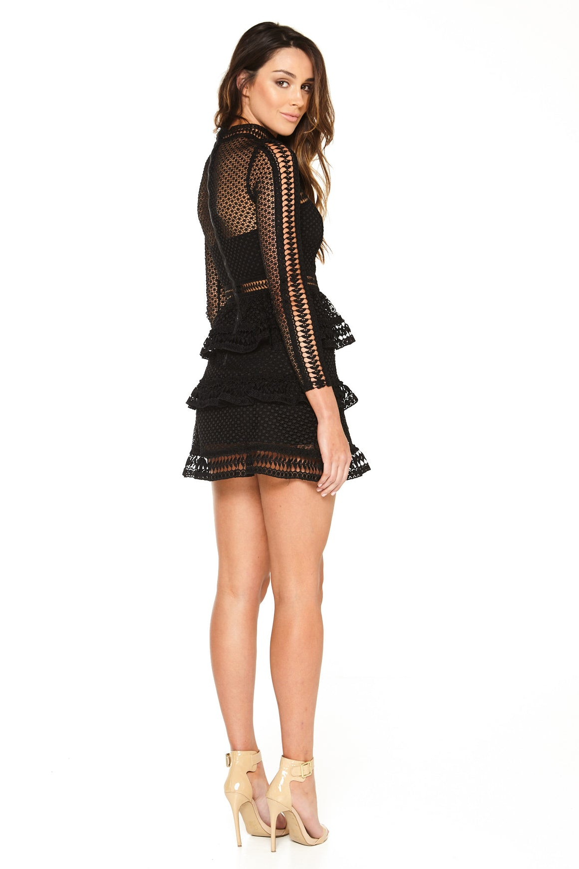Sienna Lace Peplum Dress - Black [SAMPLE SALE]