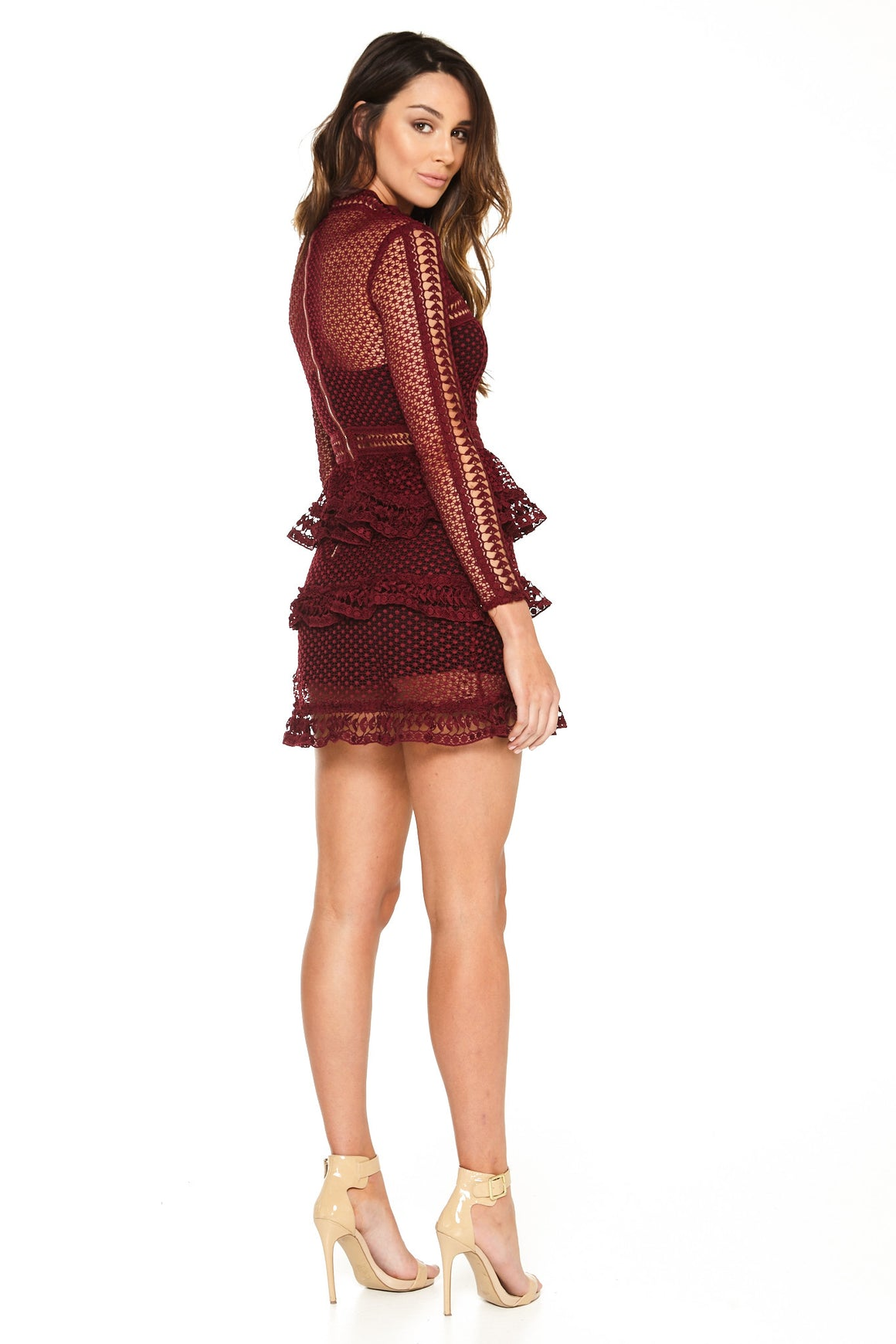Sienna Lace Peplum Dress - Maroon [SAMPLE SALE]