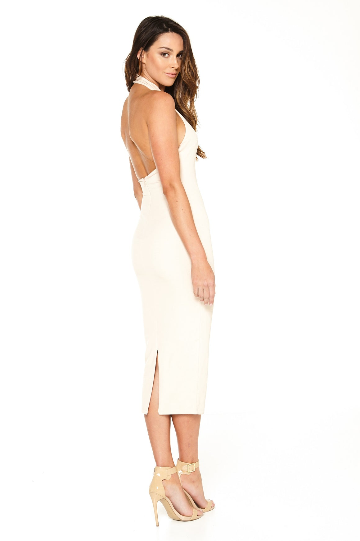 Sara Mid Calf Halter Dress - Nude