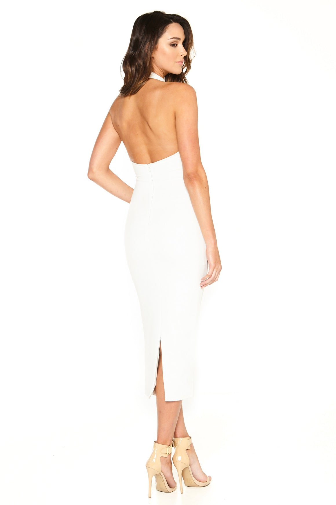 Sara Mid Calf Halter Dress - White [SAMPLE SALE]