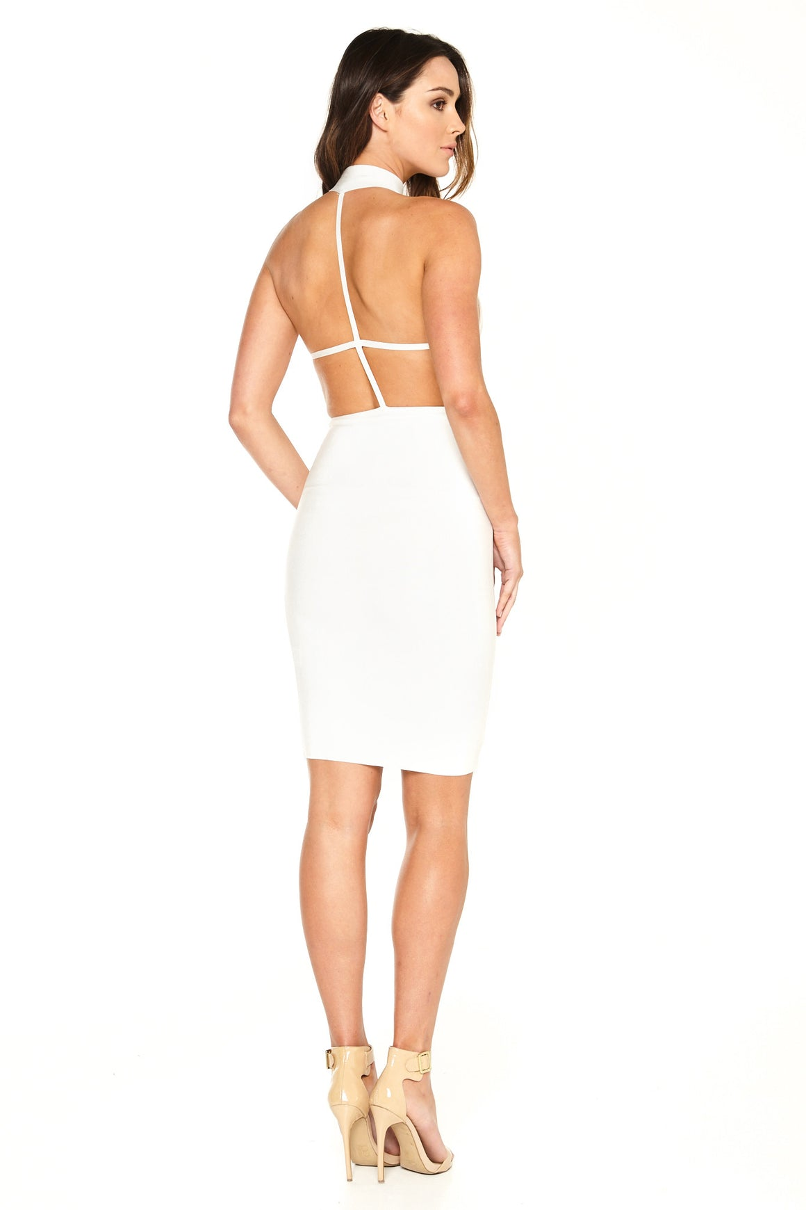 Ava T-Back Bandage Dress - White