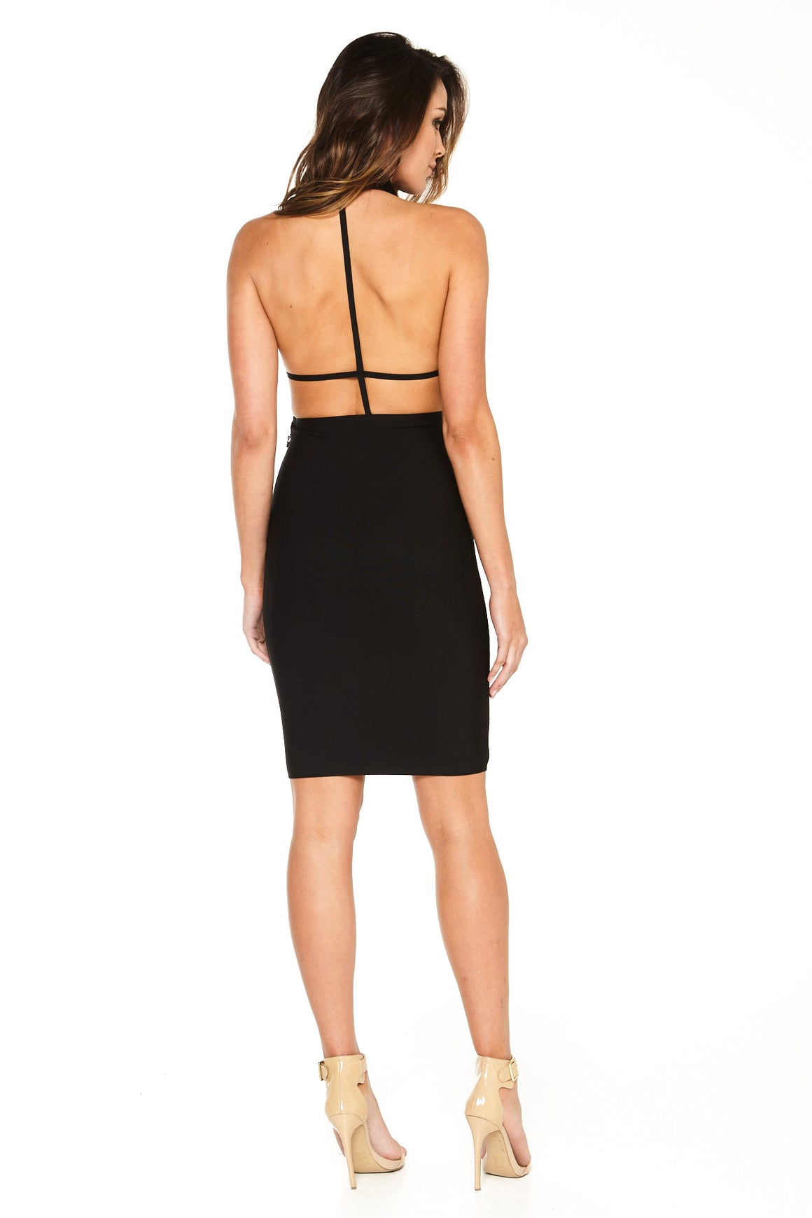 Ava T-Back Bandage Dress - Black