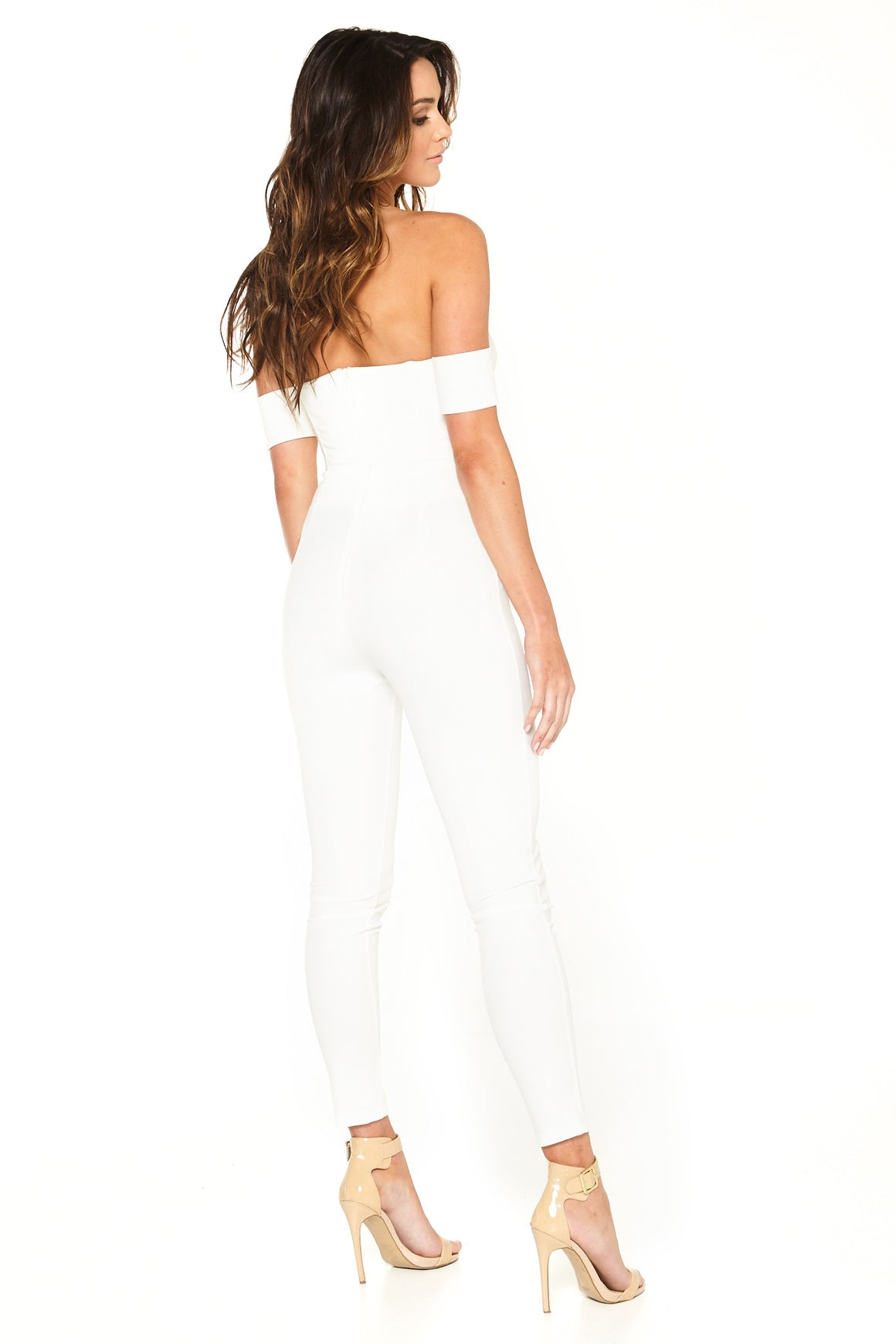 Cynthia Off-Shoulder Jumpsuit - White [SAMPLE SALE]