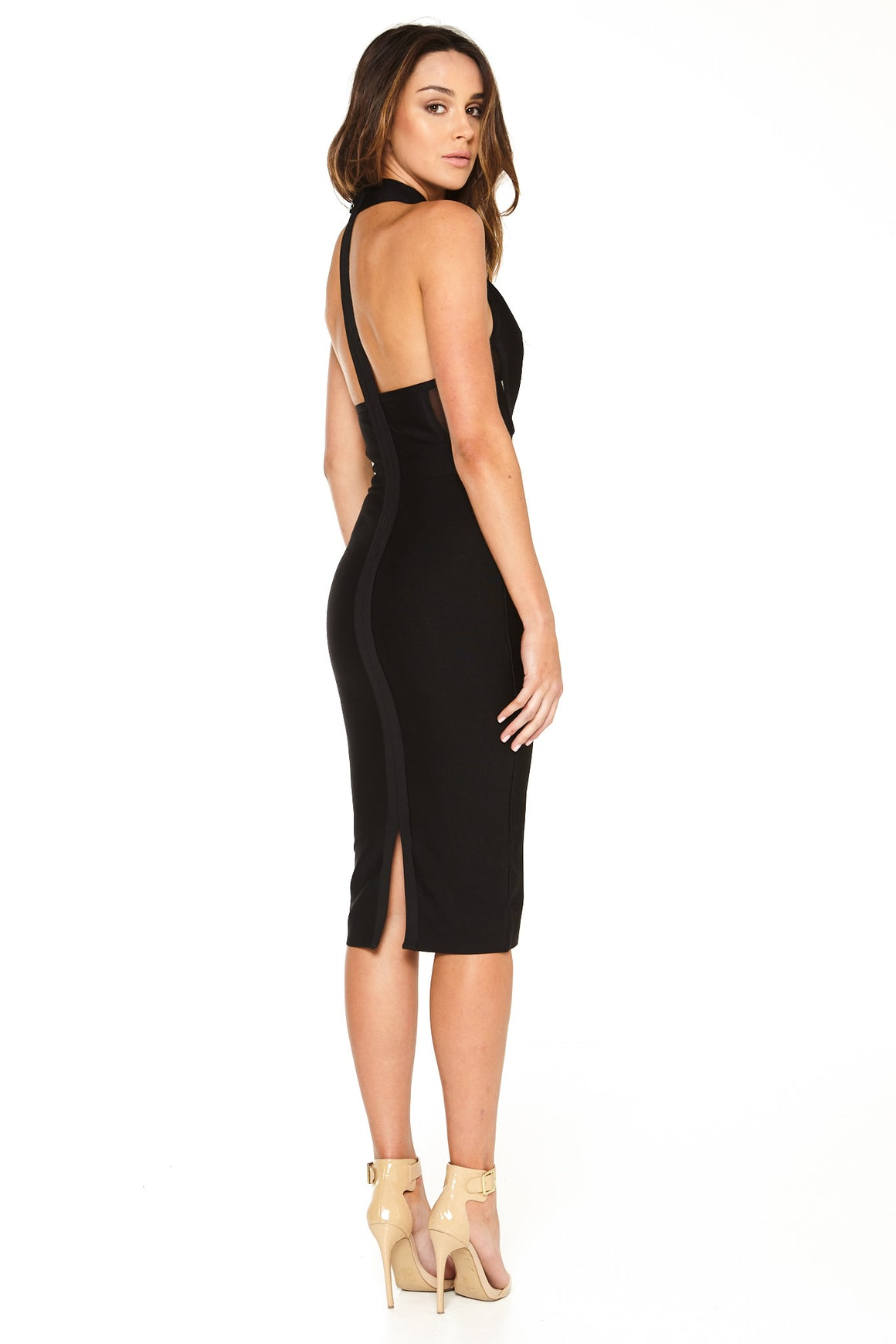 Cora Keyhole Bandage Dress - Black