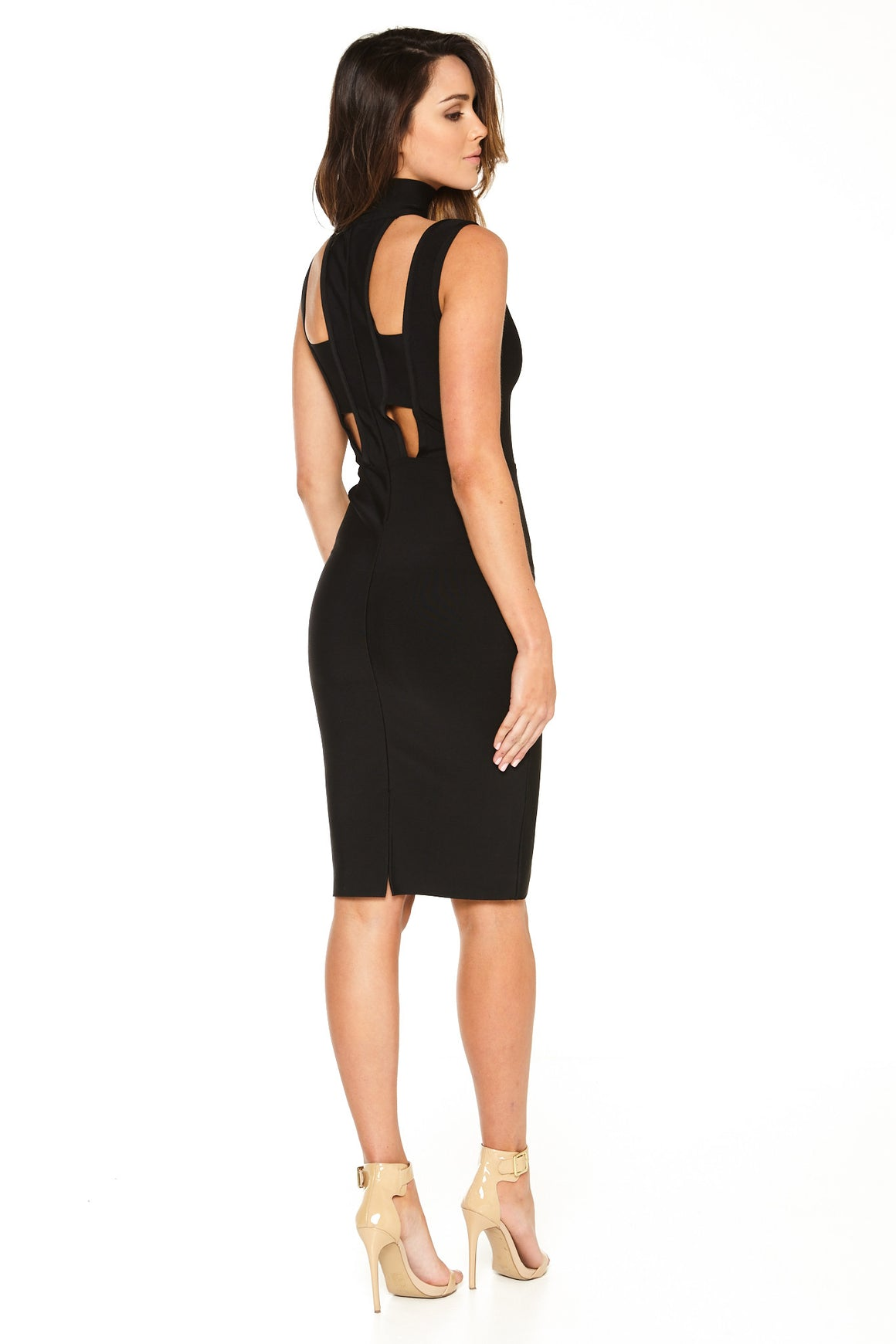 Harper Cutout Choker Bandage Dress - Black